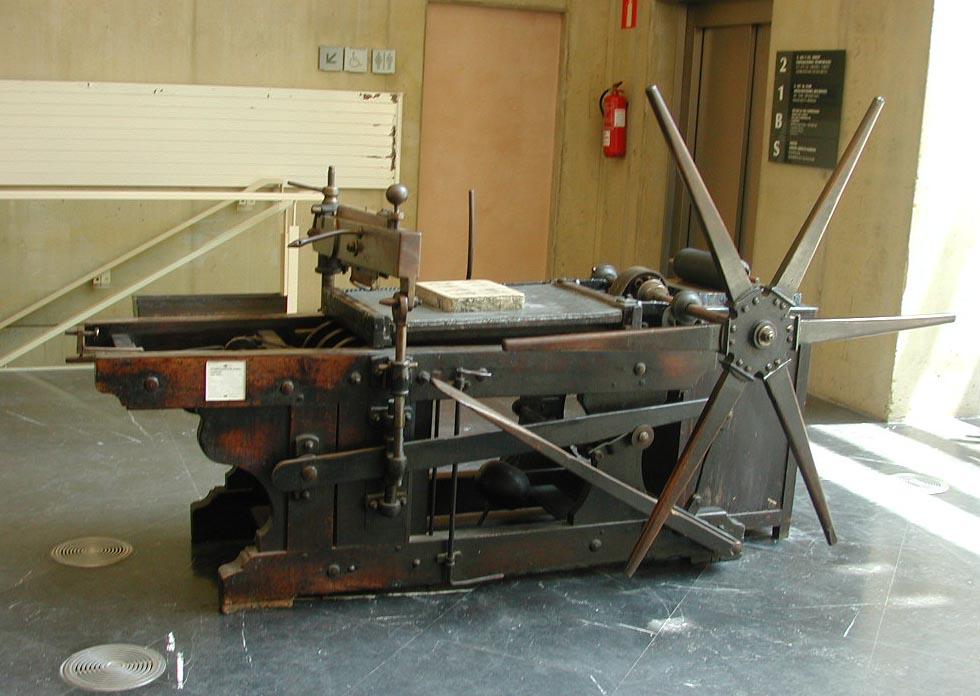 Prensa litográfica de presión arrastrada
