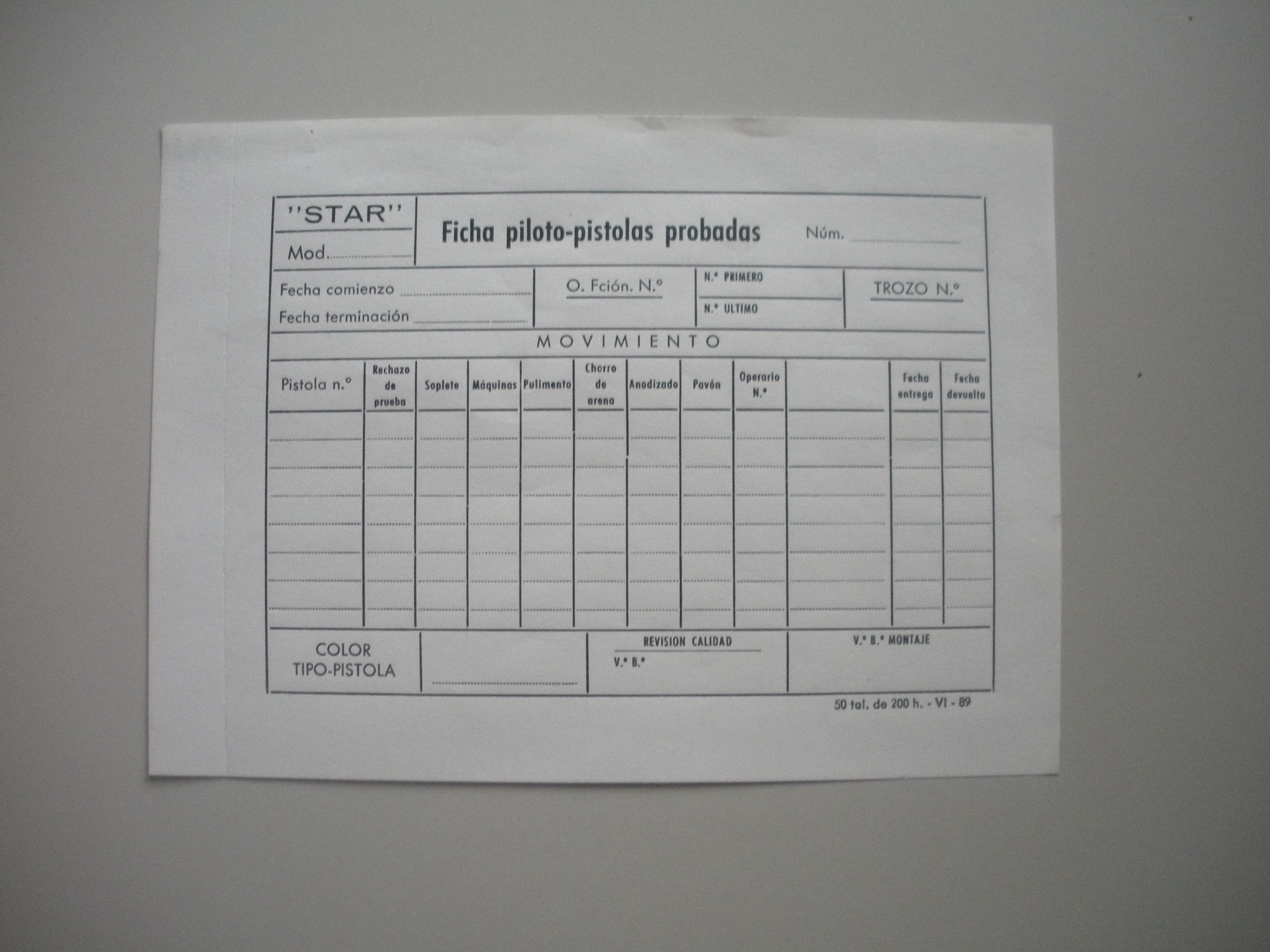FICHA PILOTO PISTOLAS PROBADAS DE STAR