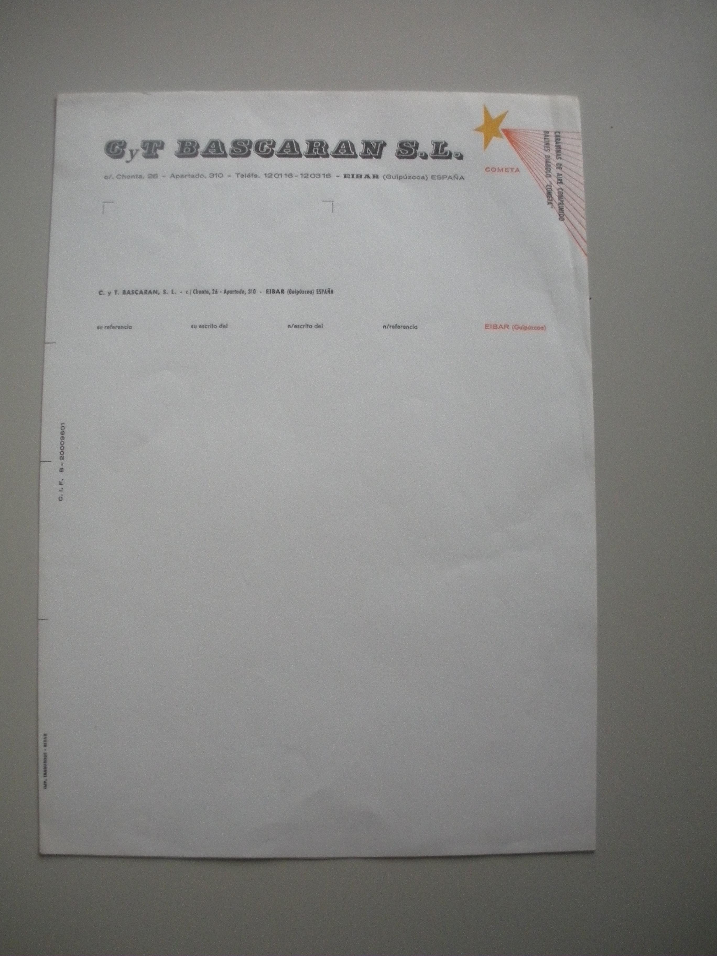 PAPEL DE CARTA CON EL MEMBRETE DE CYT BASCARAN S.L.