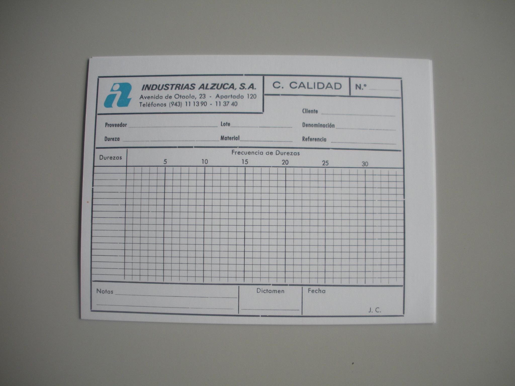 TARJETA DE CONTROL DE CALIDAD DE INDSUTRIAS ALZUCA, S.A.