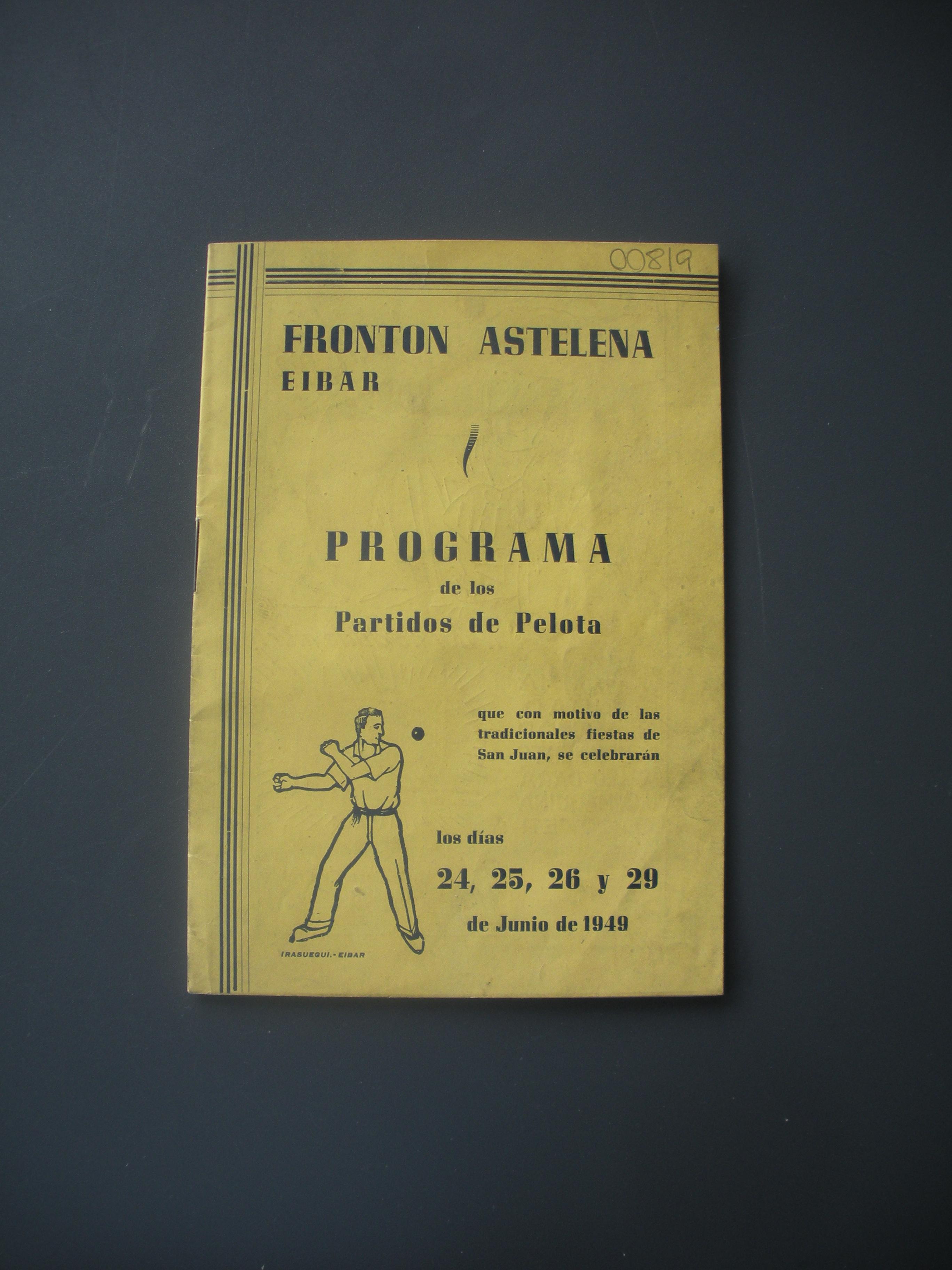 PROGRAMA DE PARTIDOS DE PELOTA DEL FRONTÓN ASTELENA
