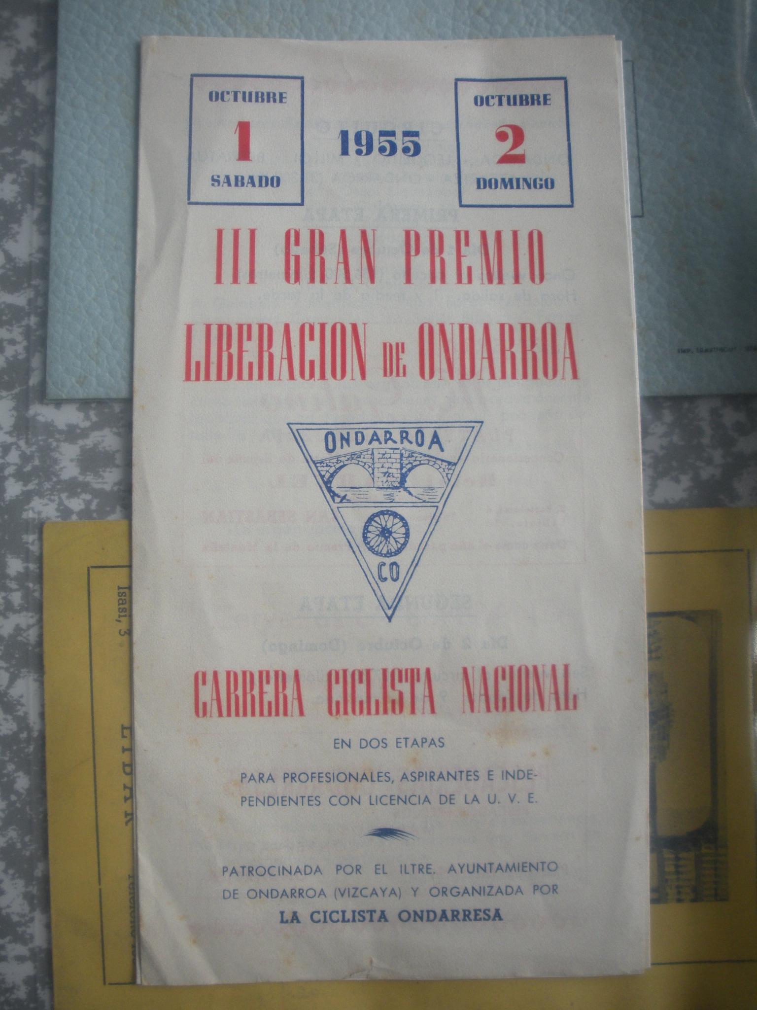 PROGRAMA DEL III GRAN PREMIO CICLISTA LIBERACIÓN DE ONDARROA