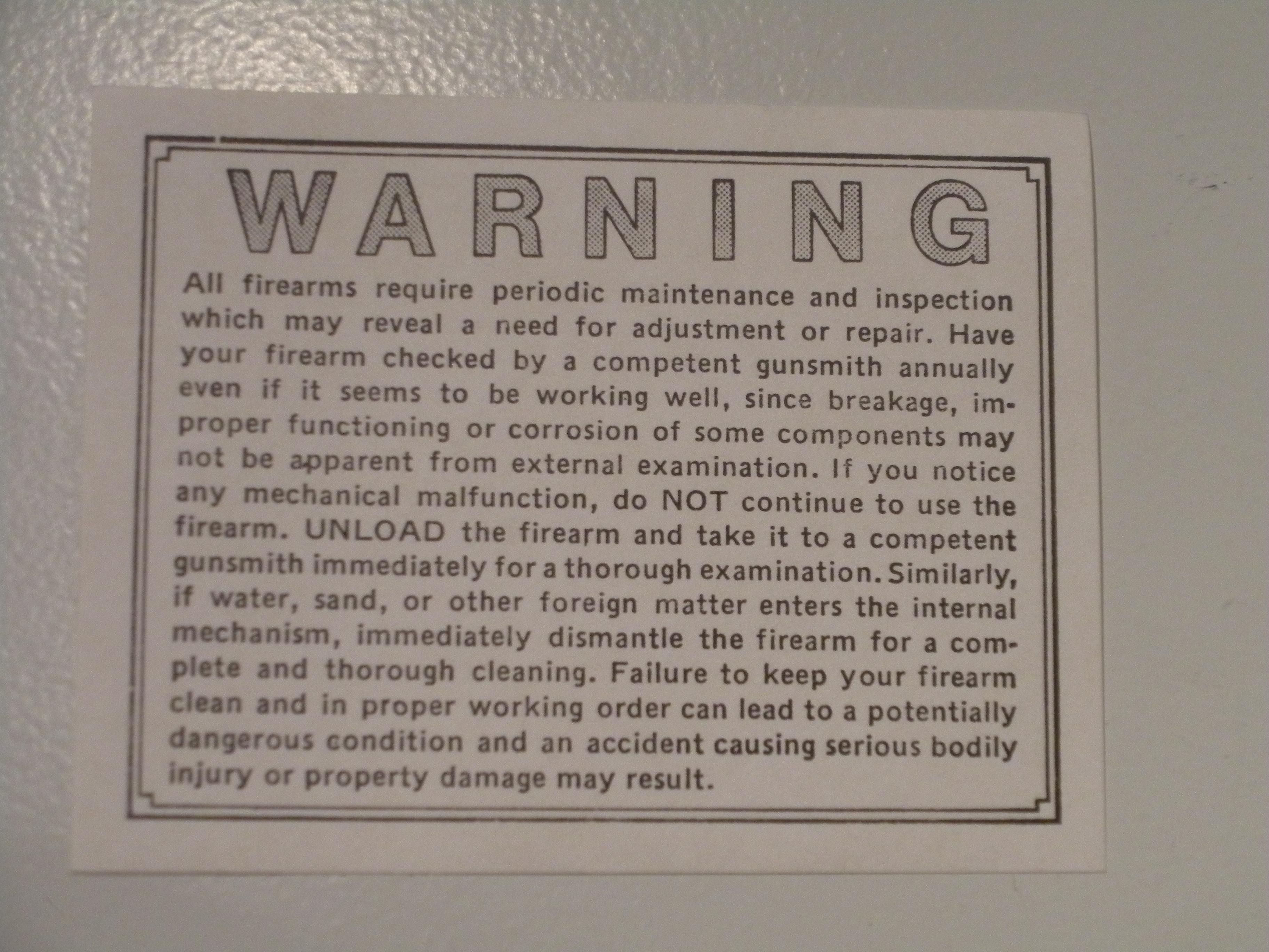 "PEGATINA ""WARNING"""