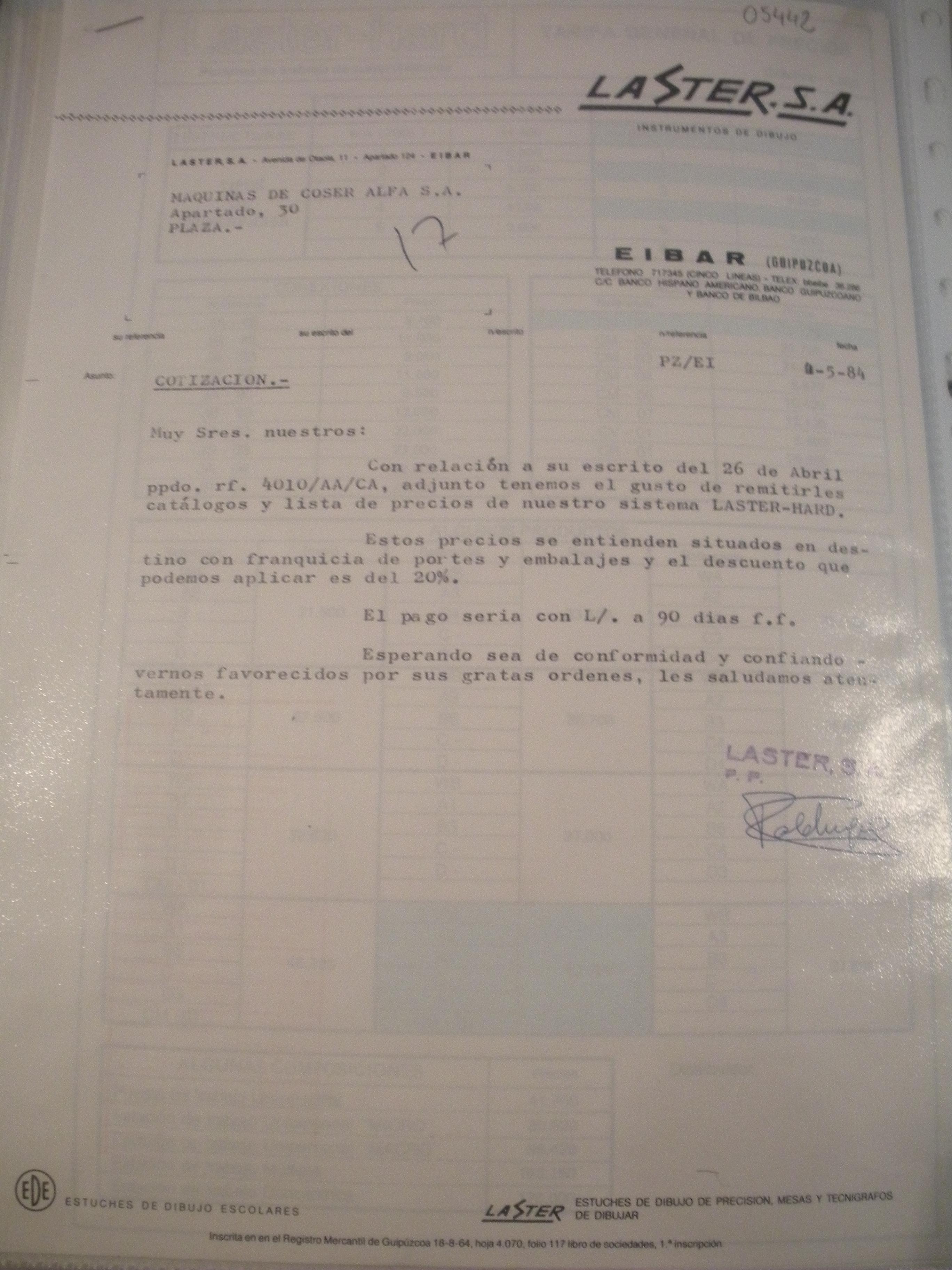 CARTA DE LASTER, S.A. PARA ALFA