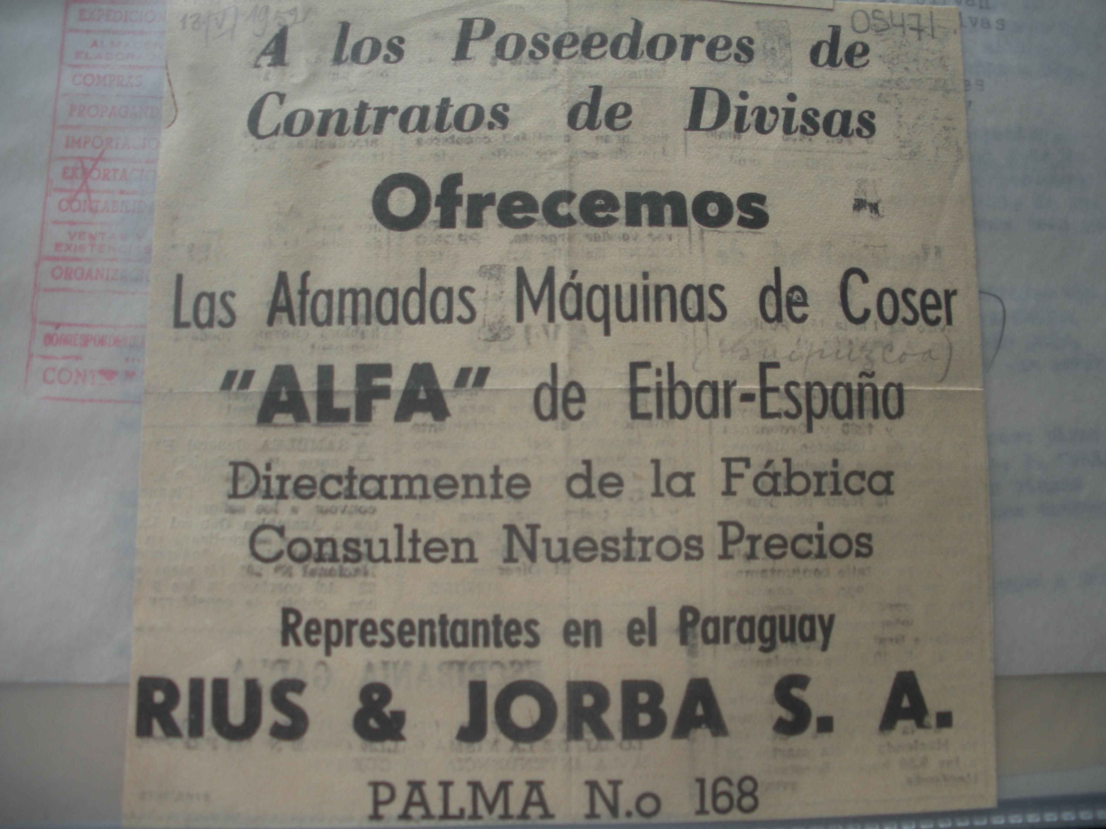 ANUNCIO DE MAQUINAS DE COSER ALFA