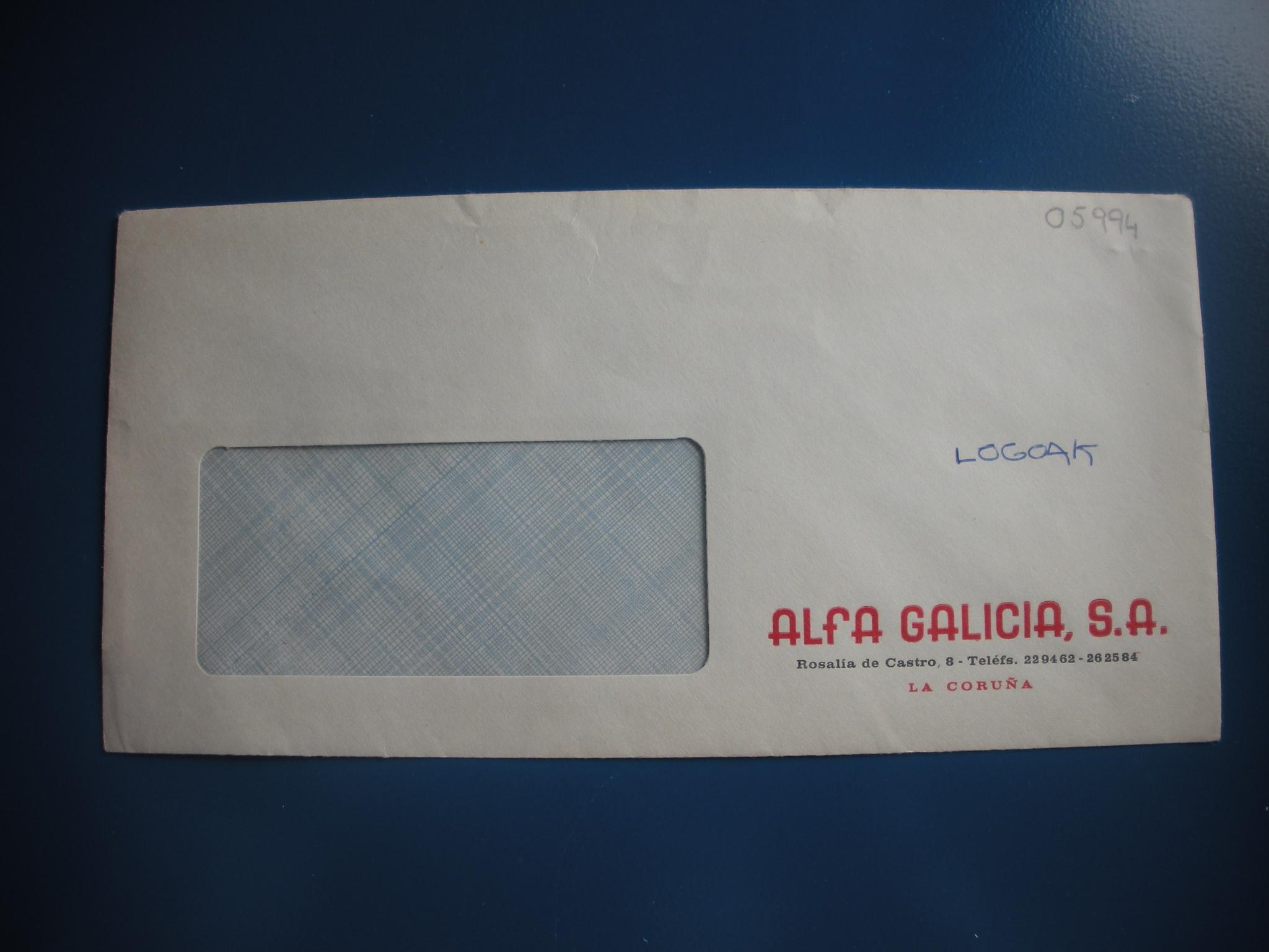 SOBRE DE ALFA GALICIA, S.A.
