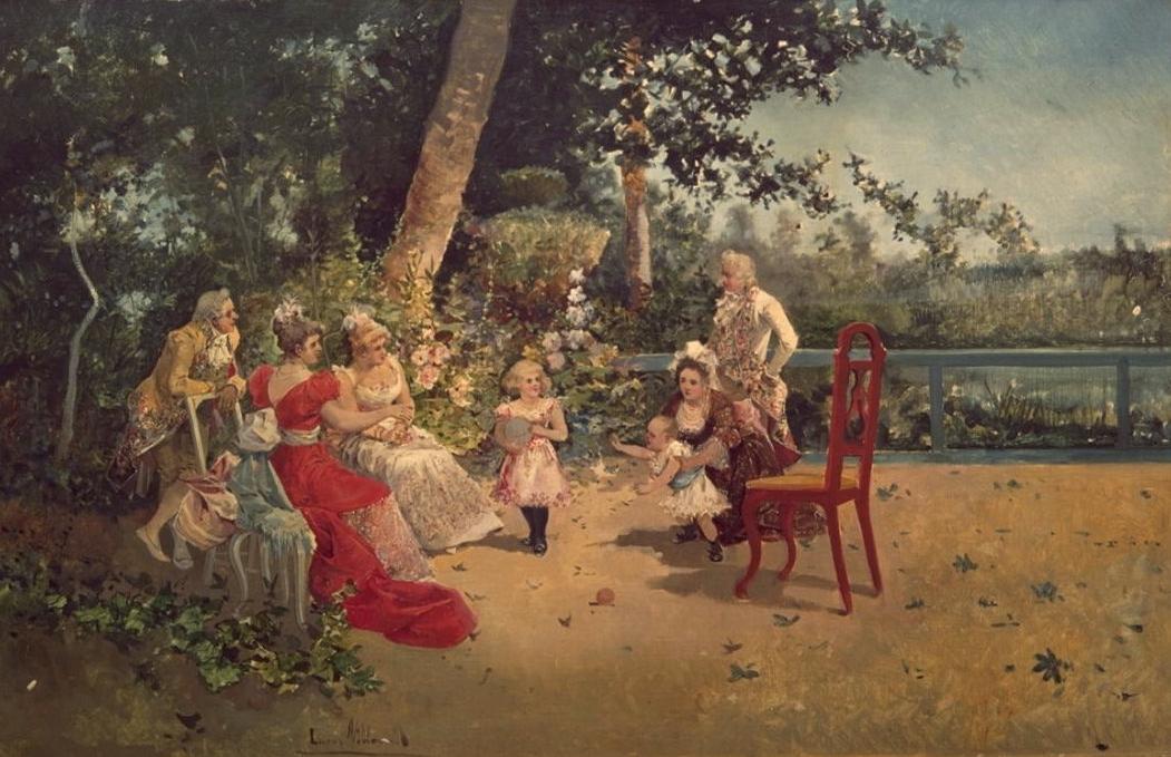 Escena familiar en el jardín