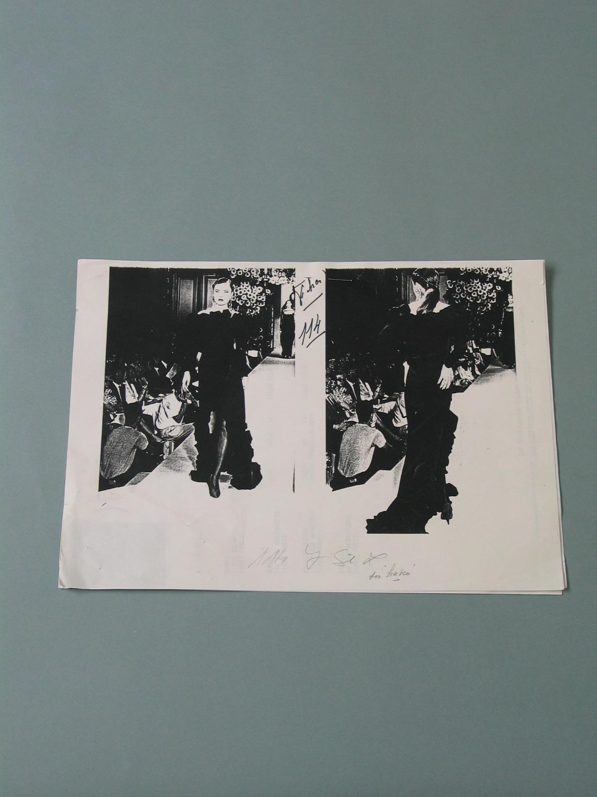 """Documentación referente al """"modelo 114"""" de invierno de 1990-1991 de Yves Saint Laurent"""