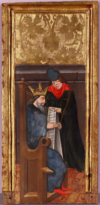 Fragmento de tabla con rey acompañado de consejero