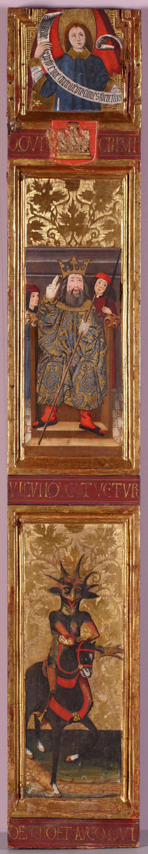 Fragmento de tabla con ángel, rey con sirvientes y demonio a caballo