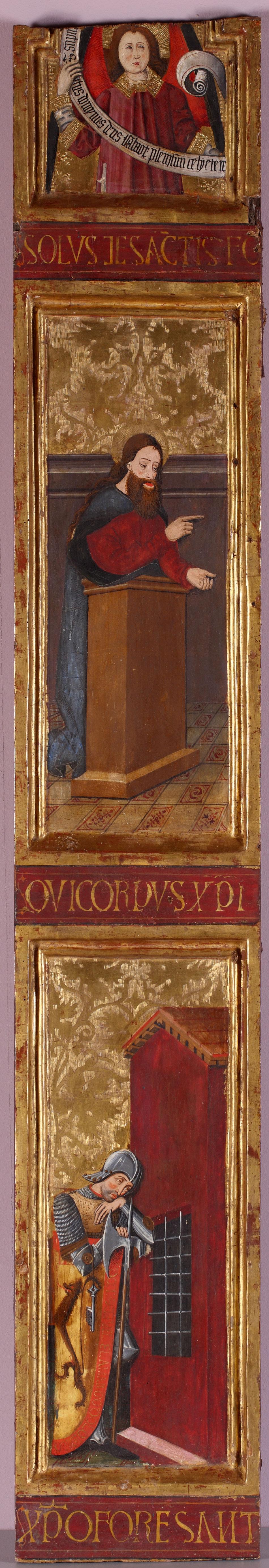 Fragmento de tabla con ángel, santo predicando y guerrero