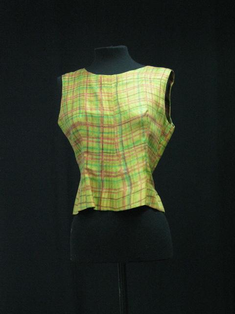 Blusa de seda estampada con motivo de cuadros