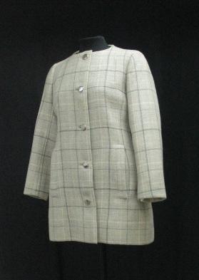 Chaquetón de lana gris claro quadrillé