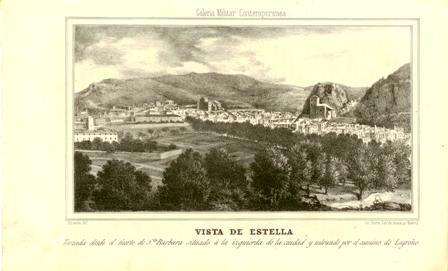 """""""Vista de Estella tomada desde el fuerte de Sta, Barbara situado a la izquierda de la ciudad y entrando por el camino de Logroño"""""""