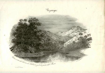 """""""Vizcaya. Una vista del barrio de Valnera y de la peña del Moro"""""""