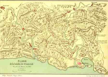 """""""Plano de la batalla de Oriamendi. 15 y 16 de Marzo de 1837"""""""