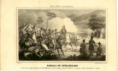 """Batalla de Peñacerrada. Acto de la carga dada por el Gral. Espartero con su escolta y Regto. de Husares, de la que resulto decidida la accion"""""""