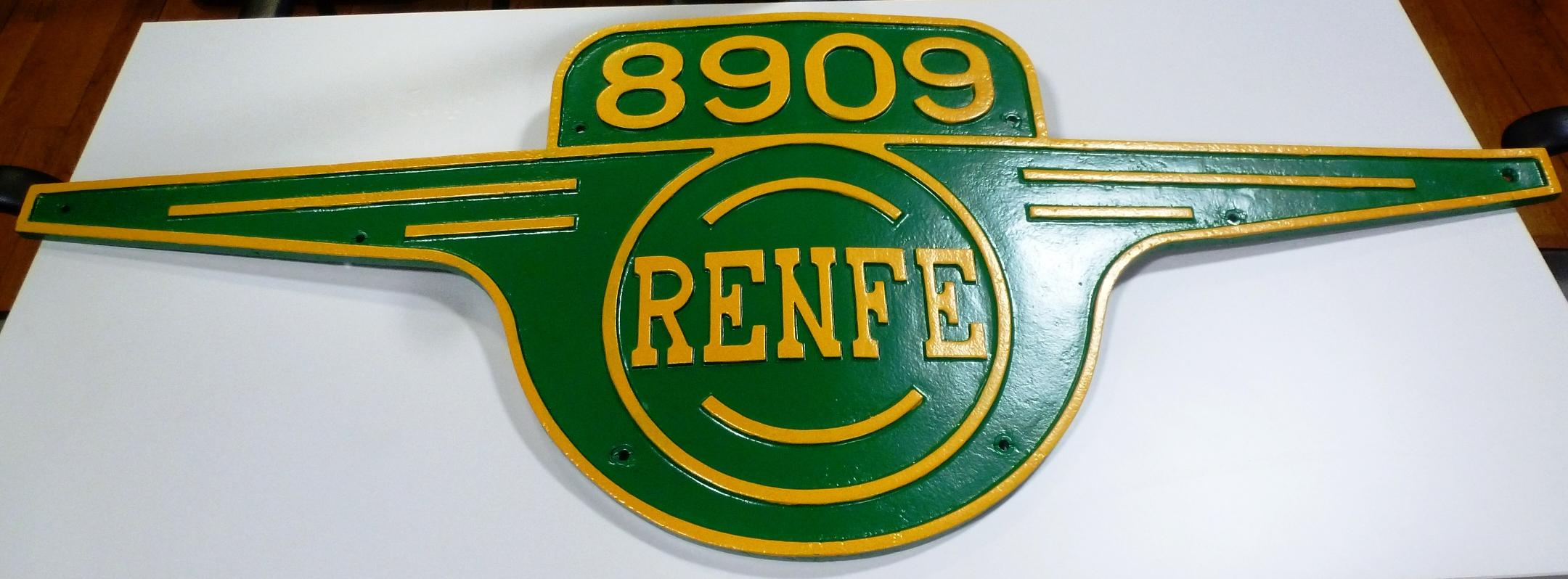 Placa de matrícula Renfe 8909