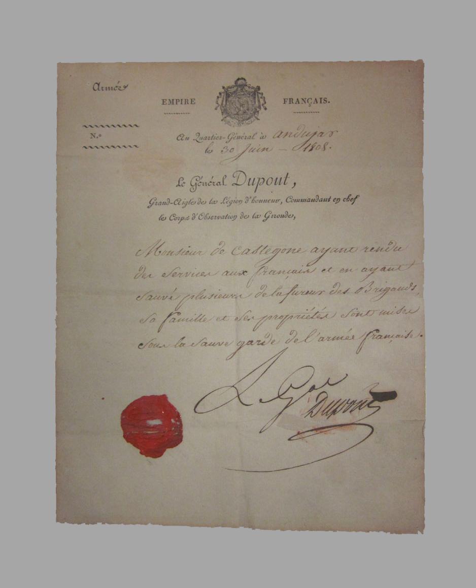Pasaporte emitido por el General Dupont a favor de José González de Castejón, Marqués de Villamayor