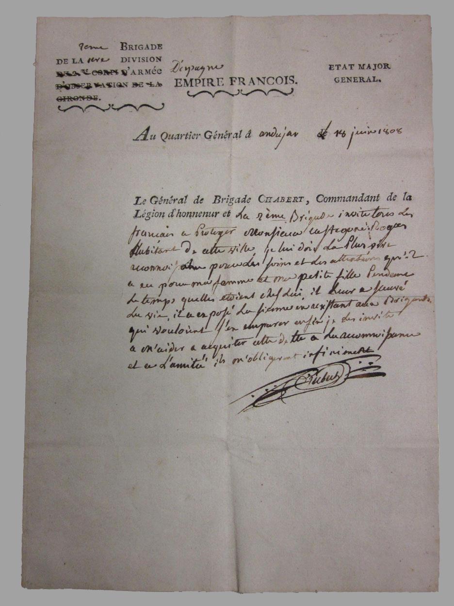 Pasaporte emitido por el General Chabert a favor de su esposa e hija