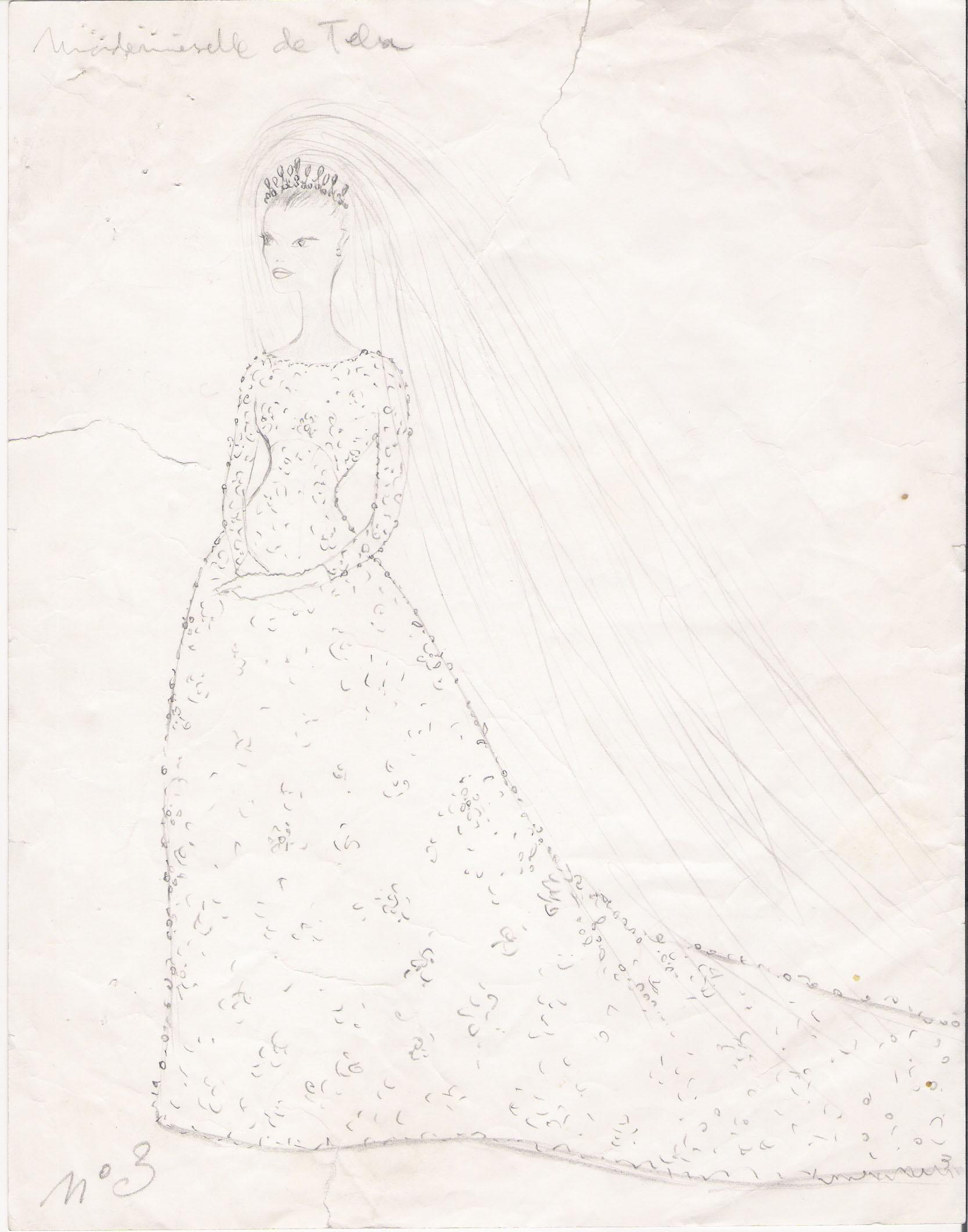 Dibujo a lápiz sobre papel de delantero de vestido de novia