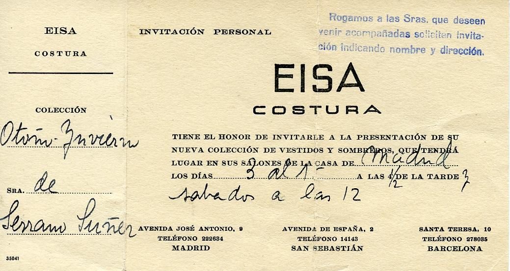 Invitación personal para la Sra. de Serrano Súñer a la presentación de la nueva colección de vestidos y sombreros