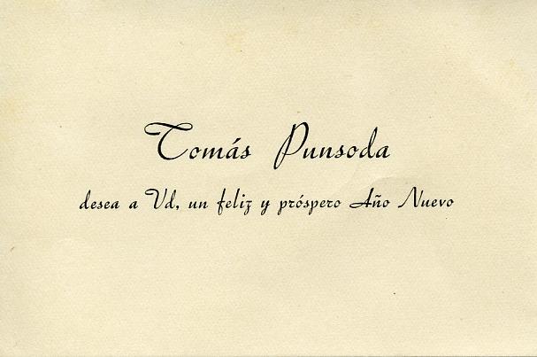 Tarjeta de Tomás Punsoda, proveedor de Balenciaga.