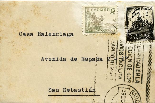 Sobre de la tarjeta de Tomás Punsoda, proveedor de Balenciaga