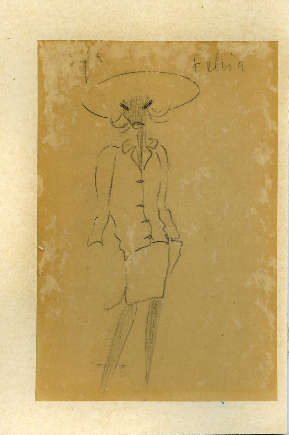 Boceto de modelo de traje