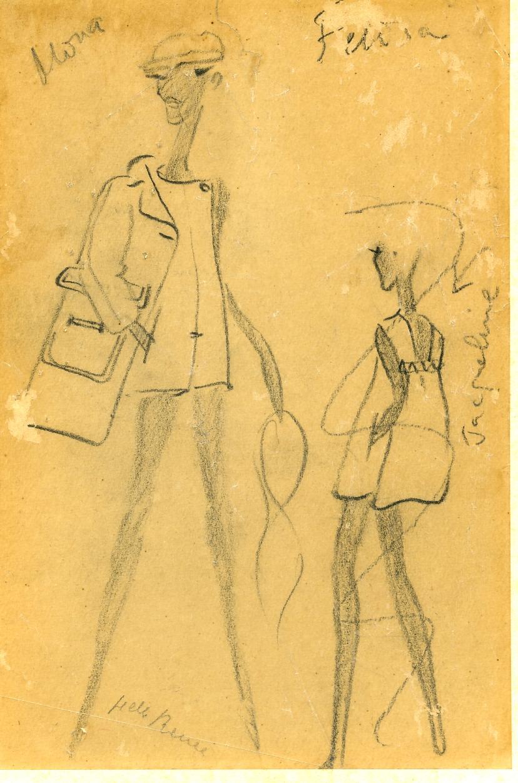 Boceto de dos modelos de trajes