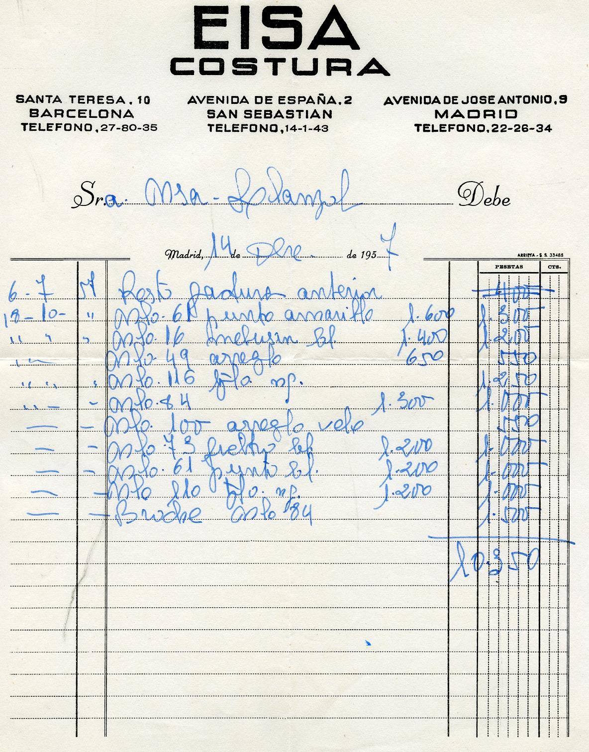 Factura de pago y recibo de pago de la marquesa de Llanzol a EISA