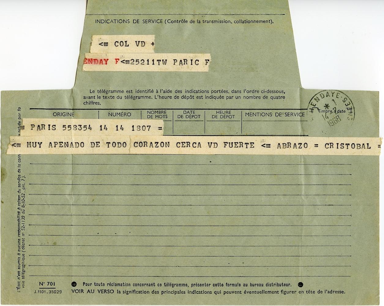 Telegrama de Cristóbal Balenciaga a madame Bonnecaze