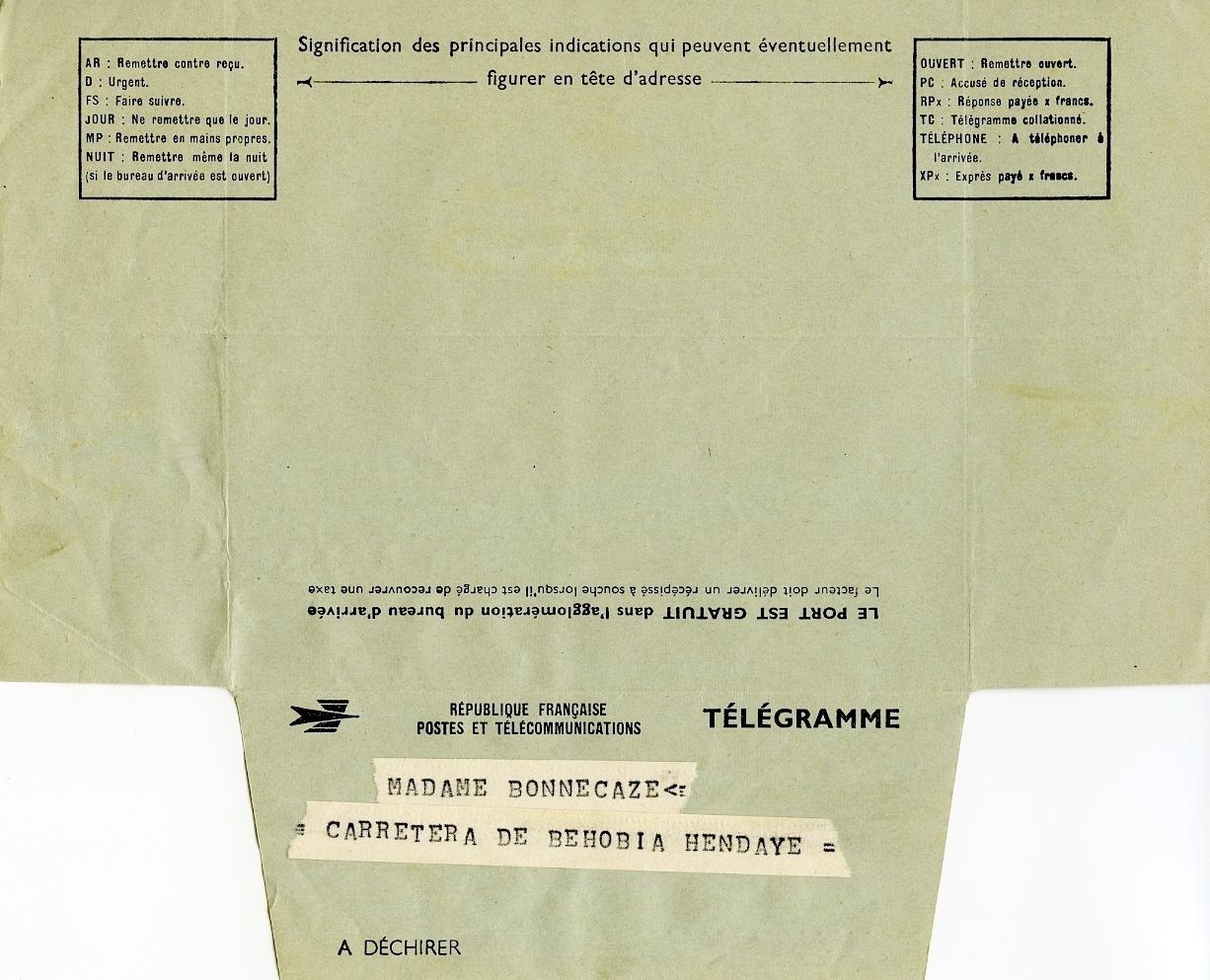 Telegrama de la familia Balenciaga a madame Bonnecaze