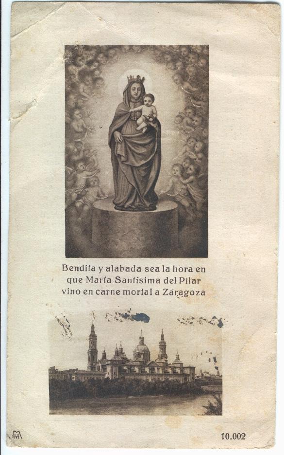 Estampa de la Virgen del Pilar
