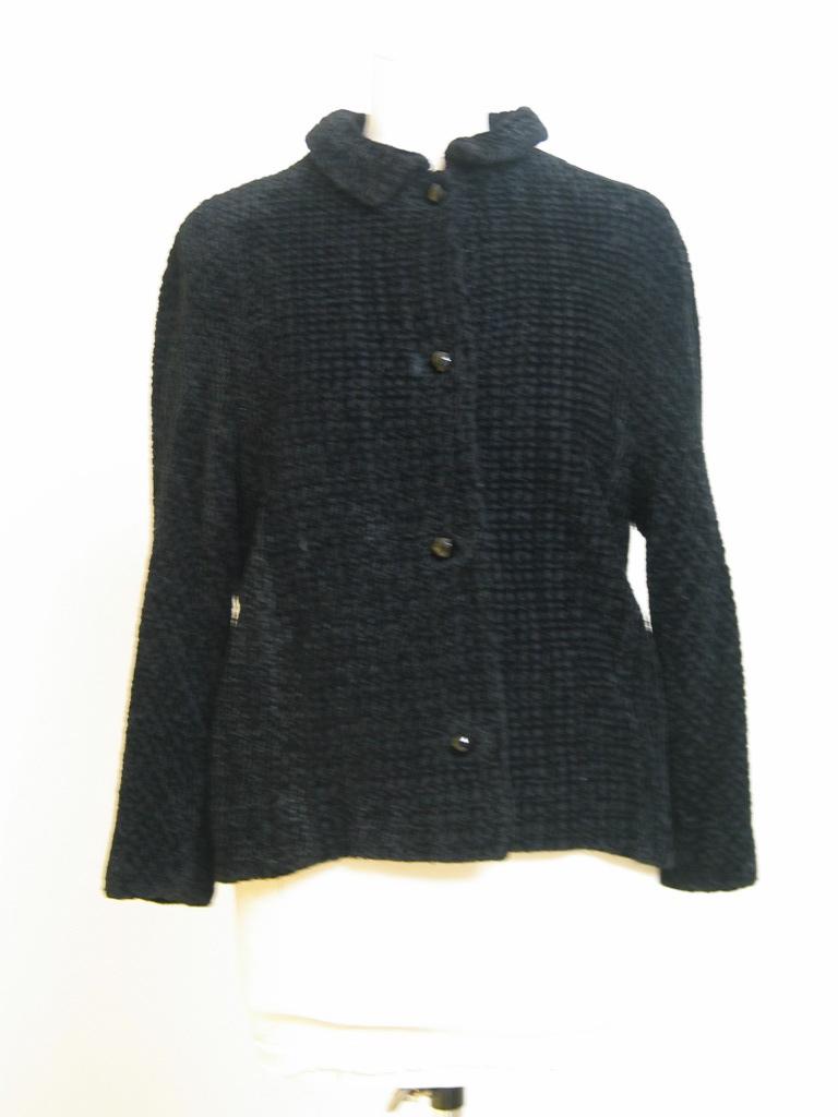 chaqueta  de chenille entrelazada negra