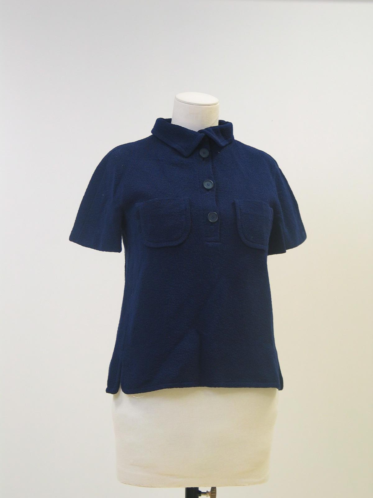 Blusa-Polo en punto azul marino, manga corta