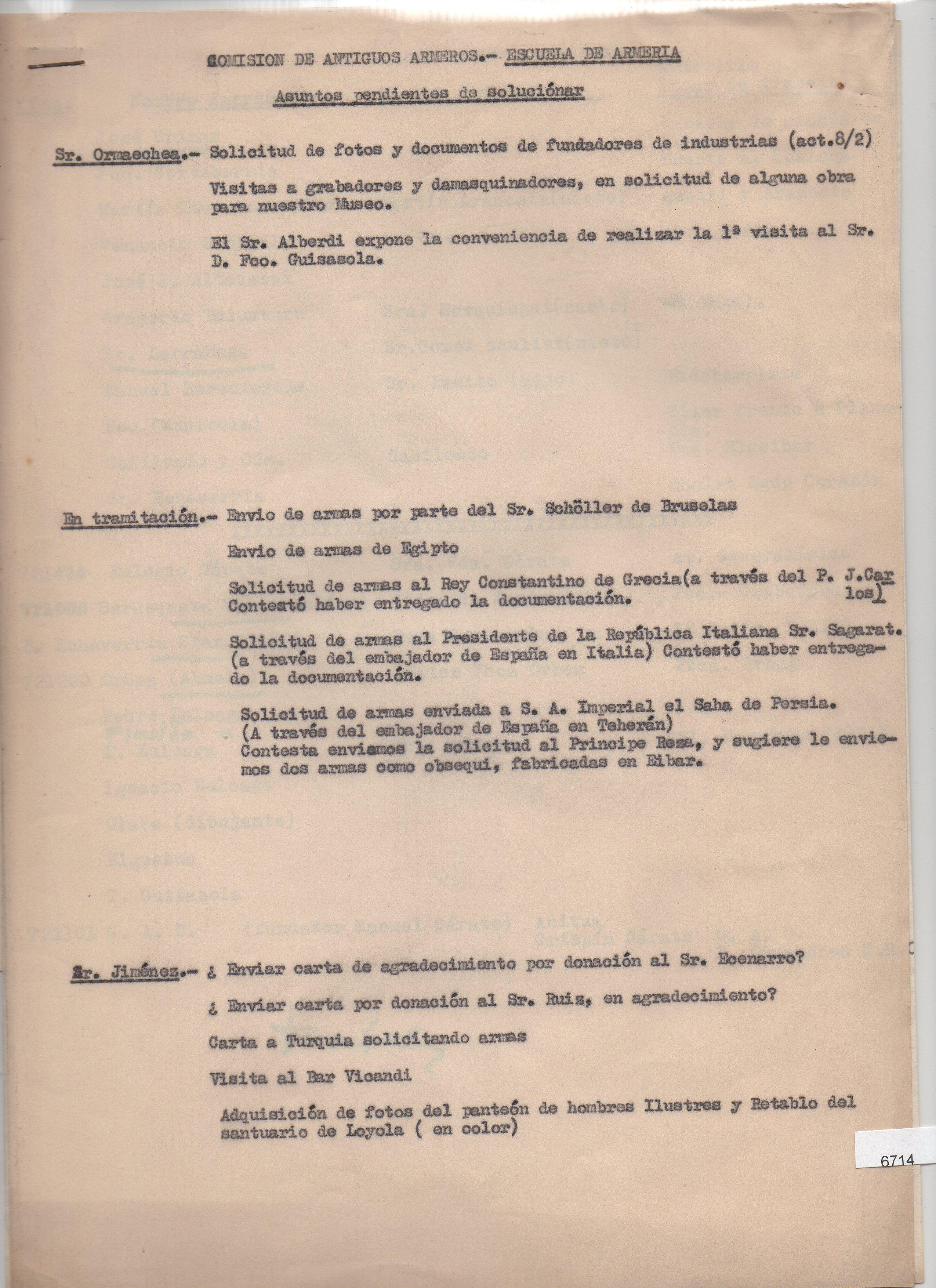 Acta de reunión de la comisión de Antiguos Armeros