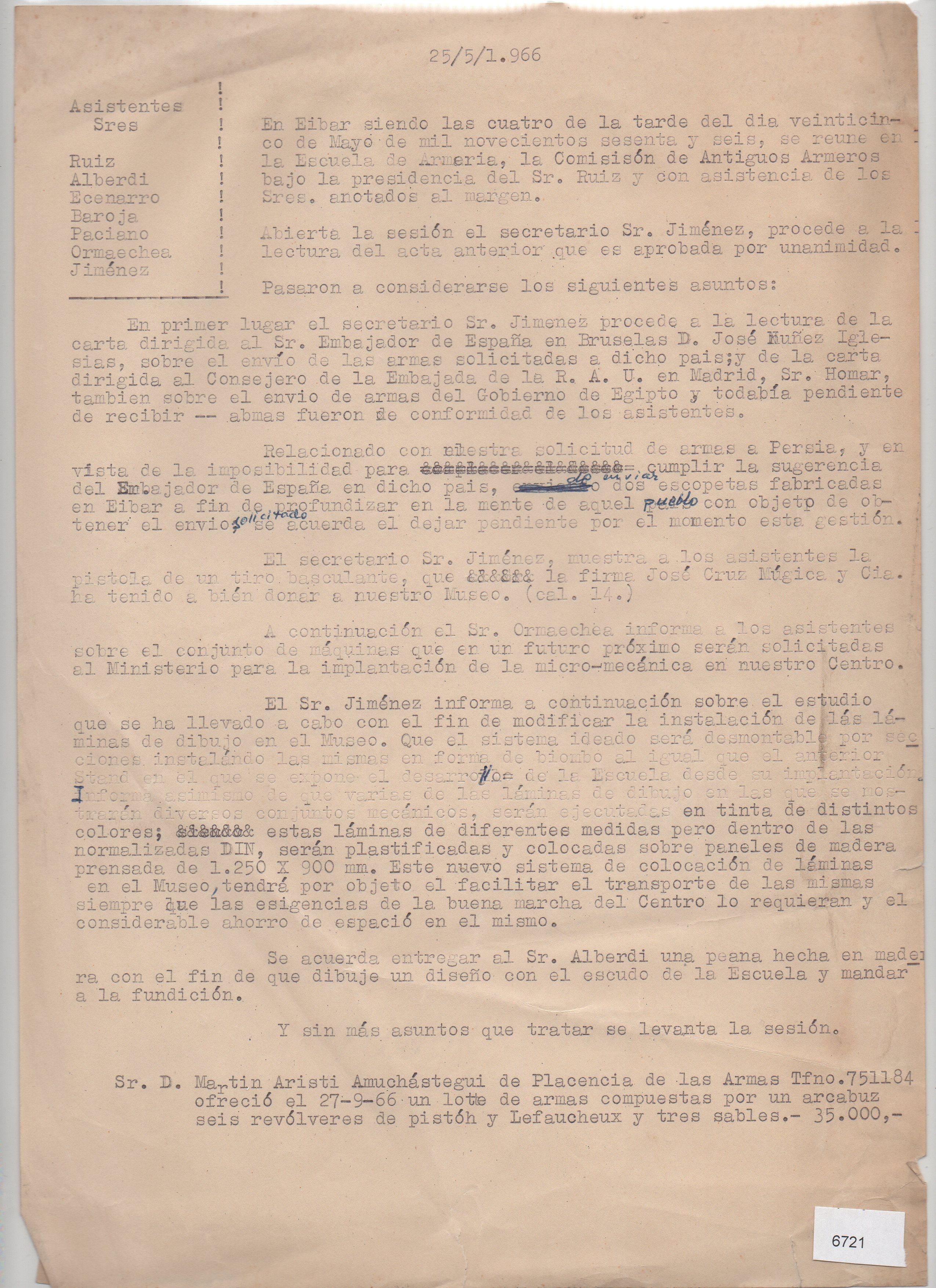 Acta original con correcciones sobre la reunión de la comisión de Antiguos Armeros