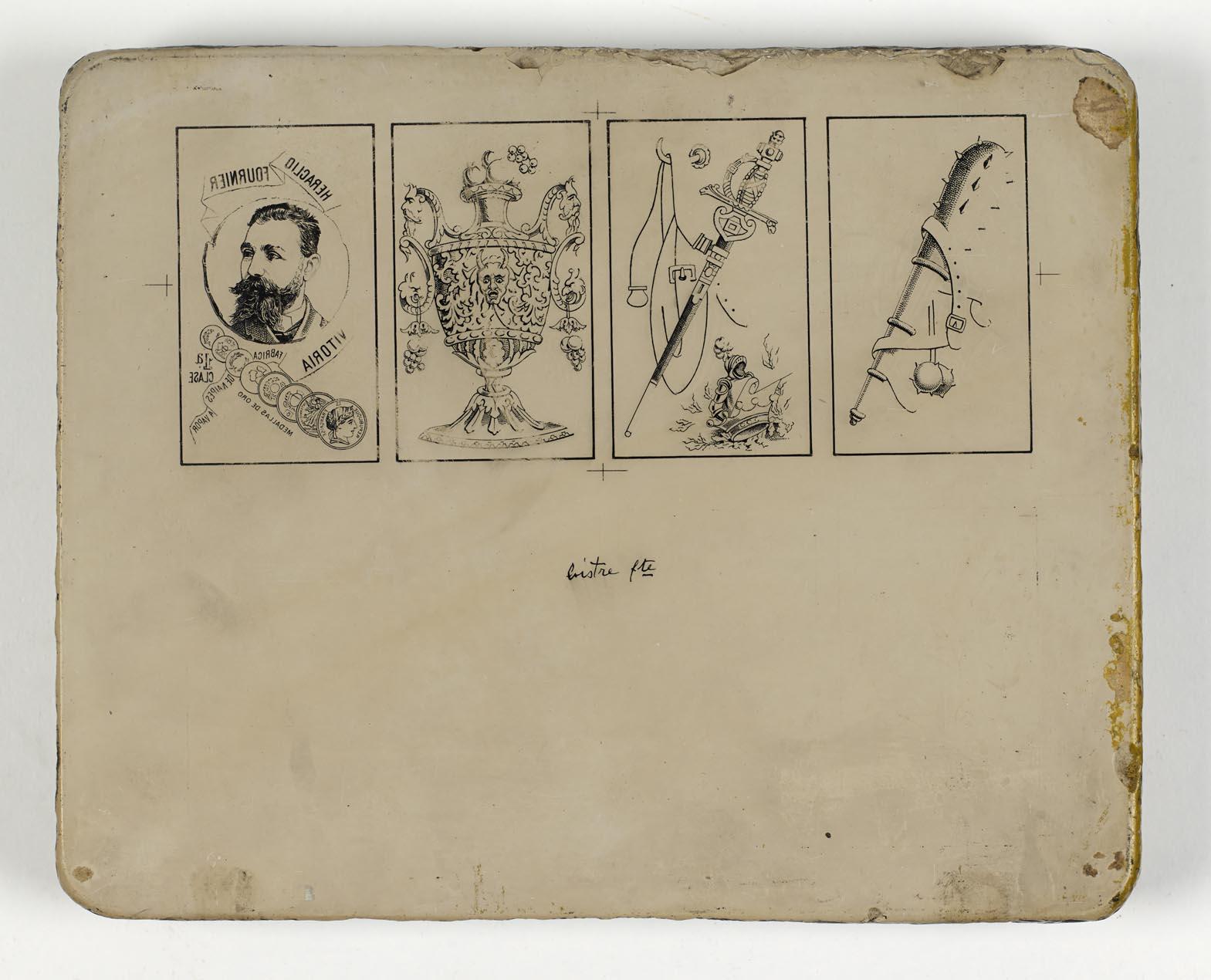 Piedra litográfica con cuatro ases
