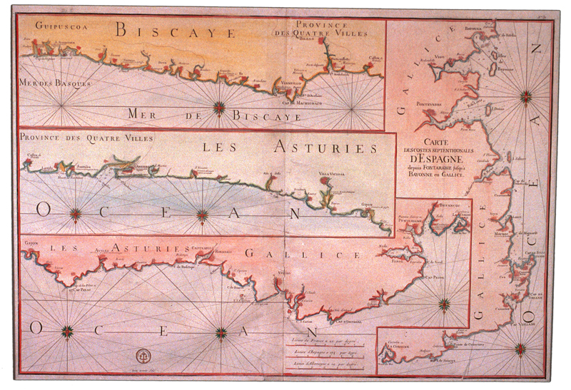 """""""Carte des costes septentrionales d'Espagne depuis Fontarabie jusqu'a Bayonne en Gallice"""""""