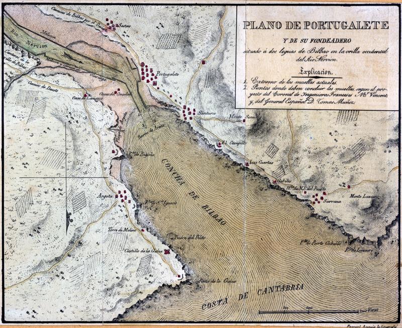 """""""Plano de Portugalete y de su fondeadero situado a dos leguas de Bilbao en la orilla occidental del Río Nervión"""""""
