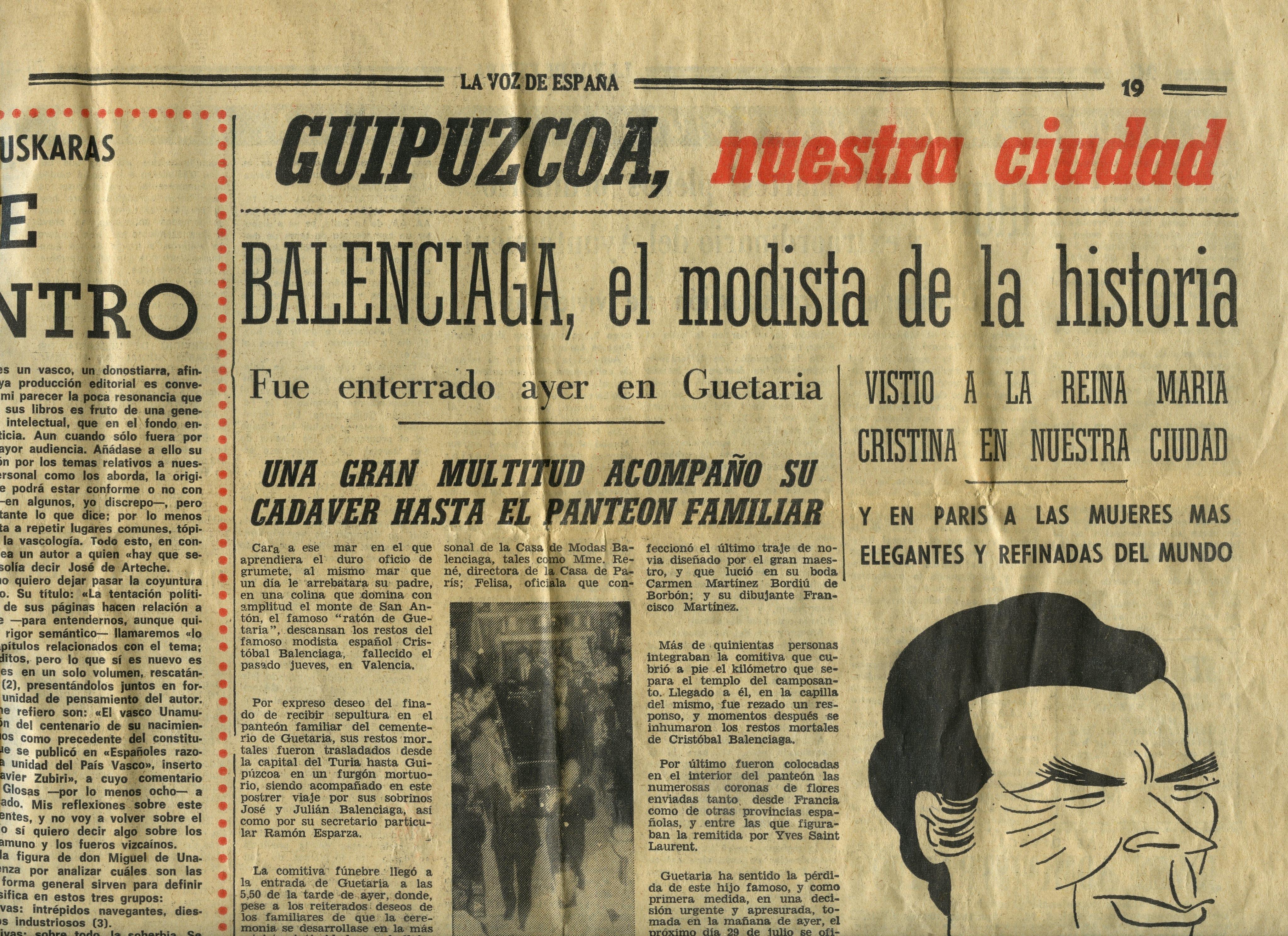 """""""BALENCIAGA, el modista de la historia. Fue enterrado ayer en Guetaria"""""""