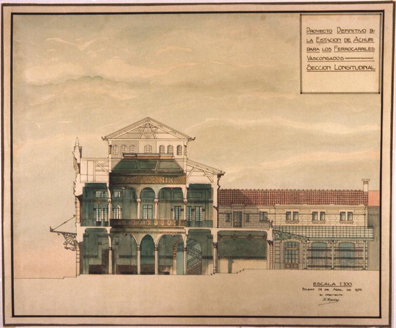 Proyecto definitivo de la estación de Achuri para los Ferrocarriles Vascongados. Sección Longitudinal