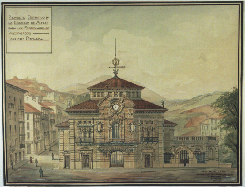 Proyecto definitivo de la Estación de Achuri para los Ferrocarriles Vascongados. Fachada Principal