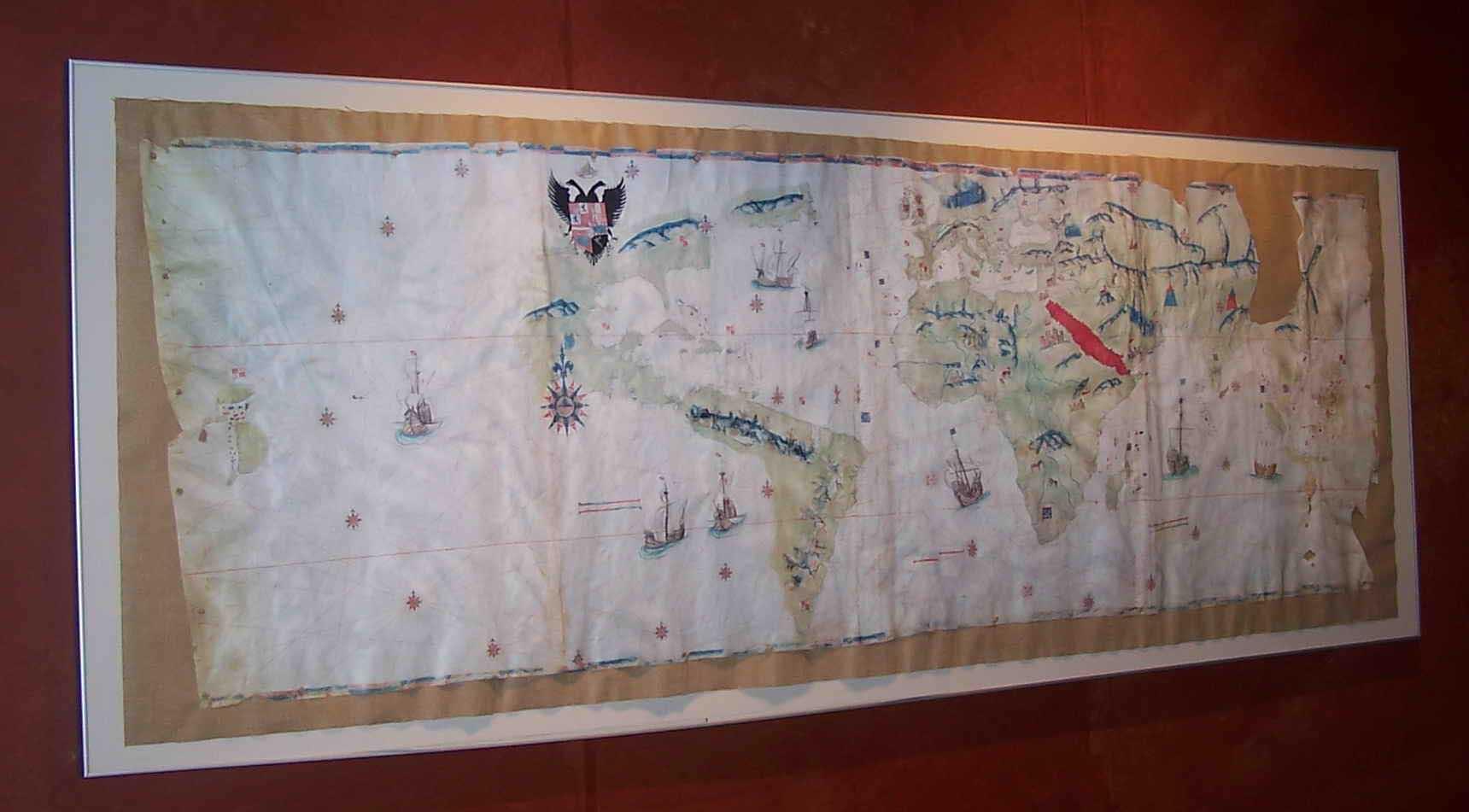 Facsímil del Portulano de Juan Vespucci. Mapa del mundo conocido