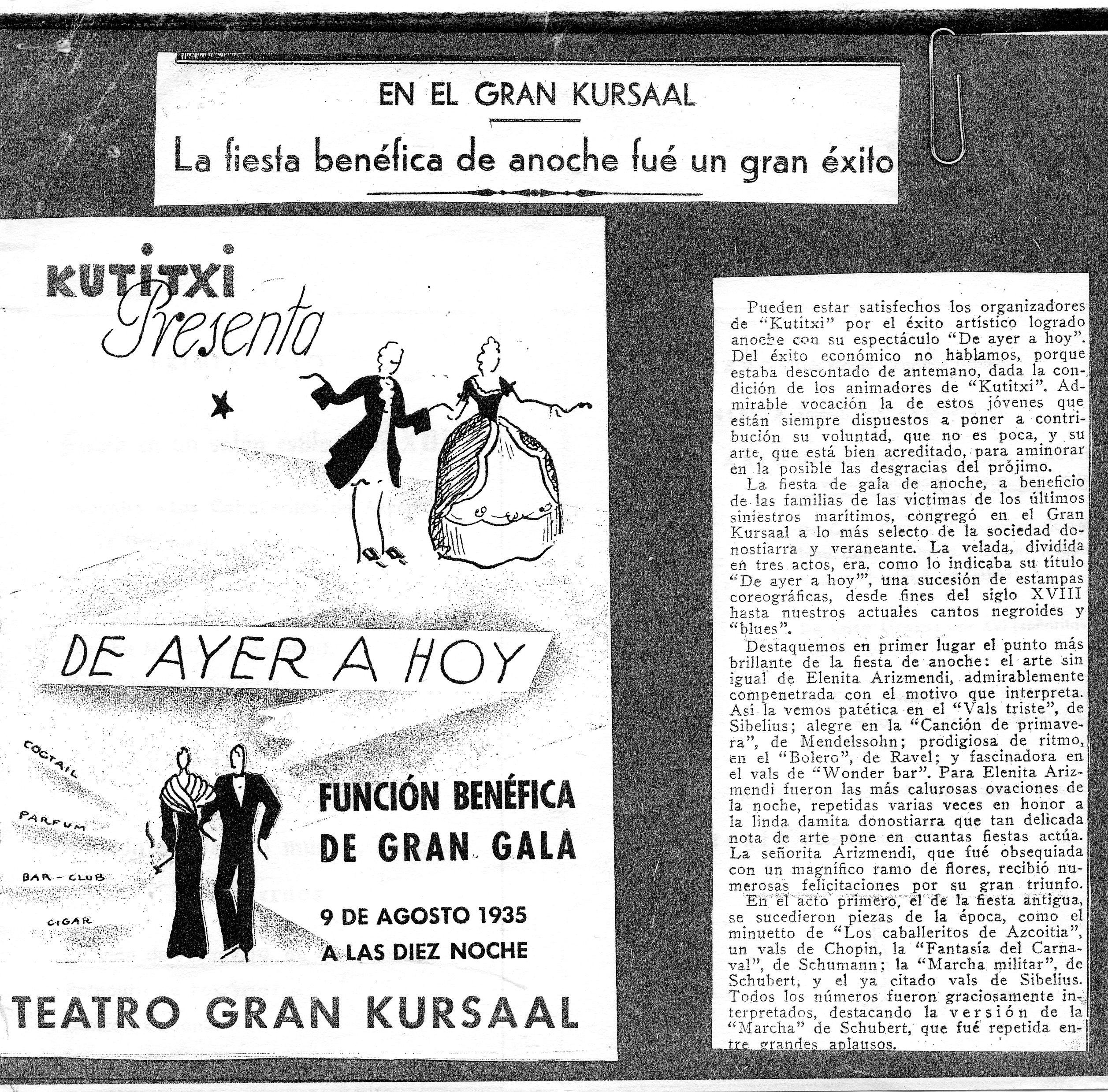 Artículo de prensa sobre una fiesta en el Gran Kursaal