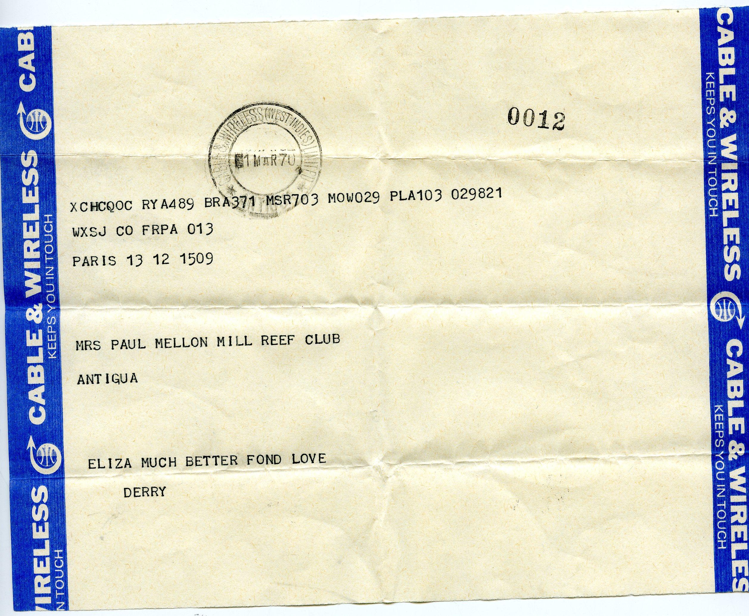 Telegrama de Mrs Paul Mellon
