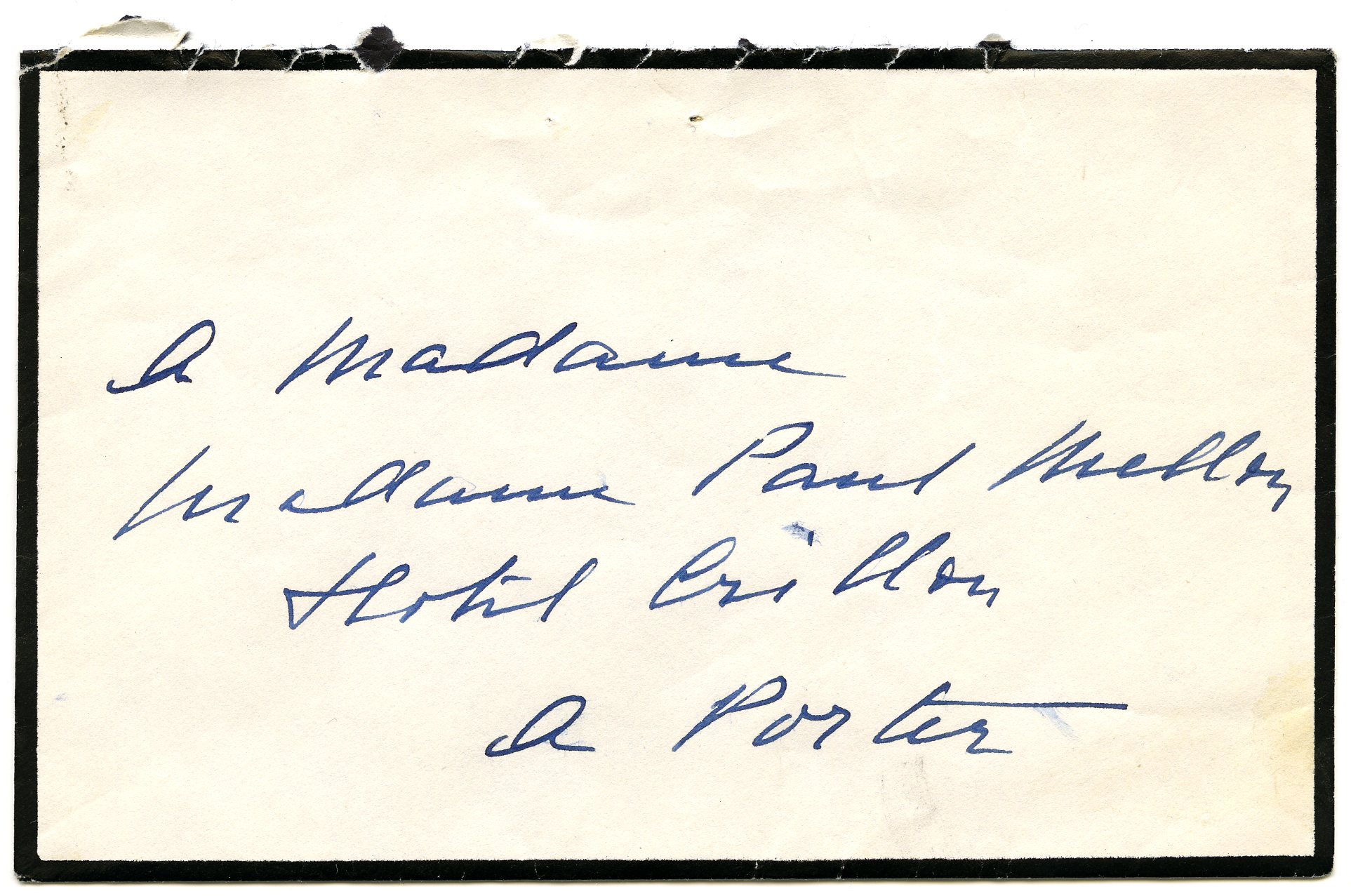 Sobre de una carta enviada por Balenciaga a madame Paul Mellon