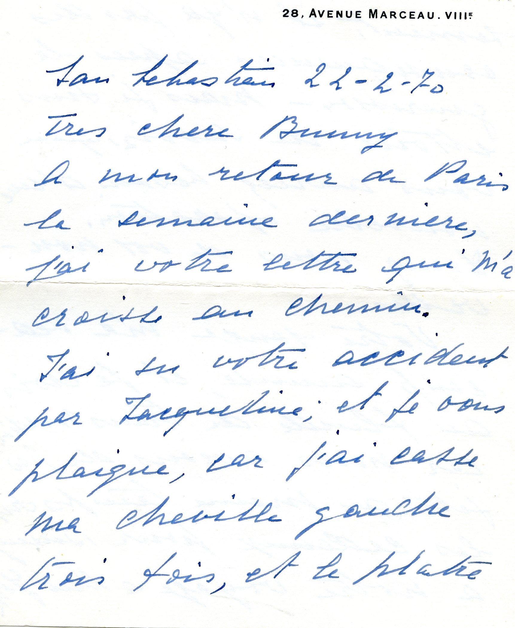 Carta enviada por Ramon Esparza y Balenciaga a madame Paul Mellon