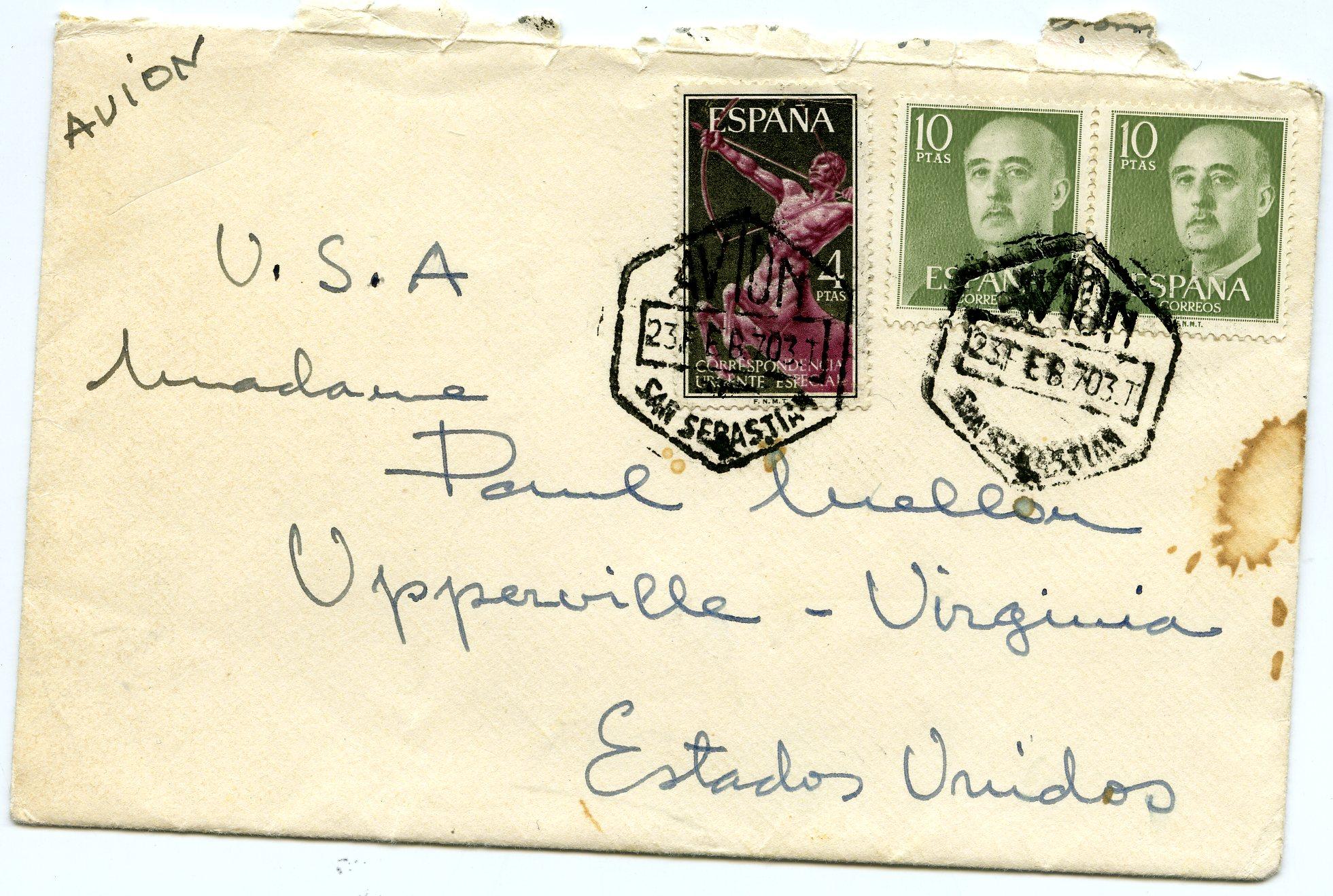 Sobre de la carta enviada por Ramon Esparza y Balenciaga a madame Paul Mellon